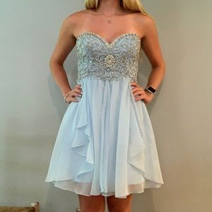 Dave & Johnny Baby Blue Prom Formal Dress